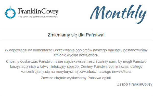 Newsletter FranklinCovey Monthly